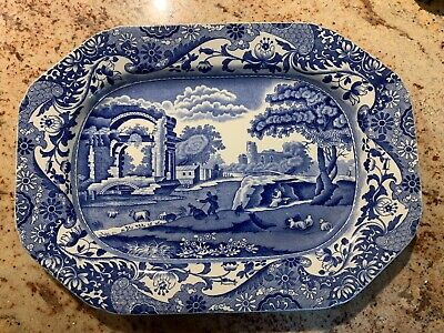 """Spode Italian Blue Oval Carving Platter Plate 12.25"""" X 9.25"""" With Early Marks • 15£"""