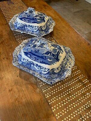 Pair Of Spode Blue Italian Covered Vegetable Dishes With Lids • 49£