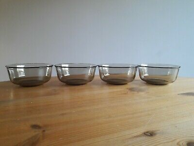 Vintage Set Of 4 Arcoroc Fumé Smoked Glass Cereal/Soup Bowls • 8.50£
