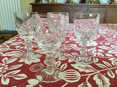 4 X  Vintage Cut Glass Crystal Glasses  Sherry • 3£