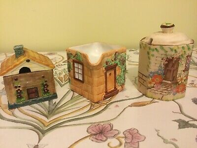 House Shaped Honey Preseve Pots And Small Jug X 3 • 0.99£