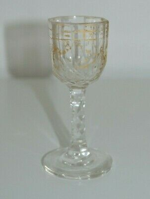 Georgian Facet Cut Stem Glass Drinking Ware With Gold Gilded Decoration  • 19.99£