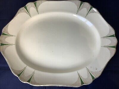 """Antique Bp & Co Scoth Ivory """"princess"""" In Green Large Platter  • 14.95£"""
