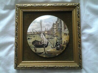 Vintage Staffordshire Framed Ceramic Miniature  Canaletto Canal Grande  • 25£