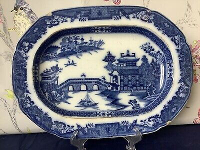 Early Willow Pattern Blue And White Transferware Platter Dish  • 14.99£