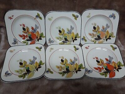 6× Antique, Coronet; Parrot And Co. Burslem; Square Plates. Rare, Hand Painted.  • 16£