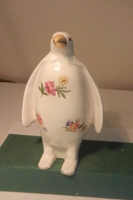 Plichta (Bovey Tracey) Large  Hand Decorated Penguin In Unusual Flowerdesign • 15£