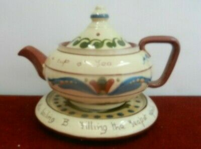 Aller Vale Pottery Teapot And Plate • 22£