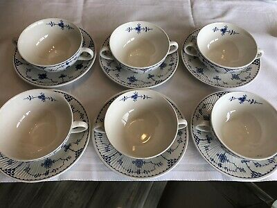Johnson Brothers Furnace  Blue Denmark Set Of 6 Soup Bowls And Saucers • 40£
