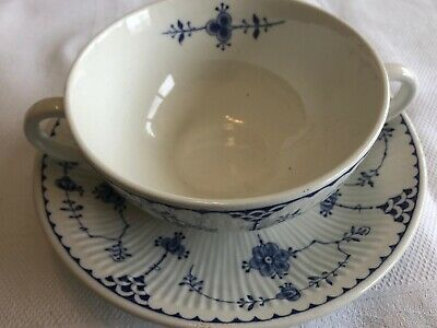 Johnson Brothers Furnace  Blue Denmark Soup Bowl And Saucer • 7£