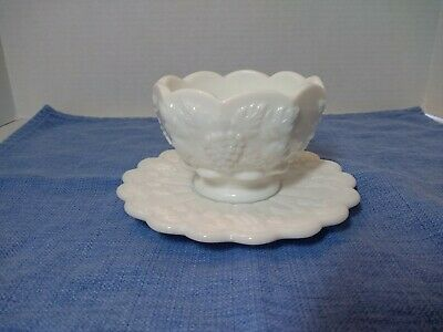 Westmoreland Milk Glass Compote & Plate Paneled Grapes Mayonnaise Cocktail Bowl • 9.75£