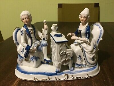Vintage Blue & White Porcelain With Gold Accent Couple Playing Music Figurine • 19.49£
