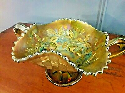 Northwood Carnival Glass Bowl /  Three Fruits /  Iridescent Footed Twin Handled • 29.99£