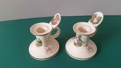 Pair Of Shannonbridge Potteries Candle Holders For 50th Golden Anniversary • 4£