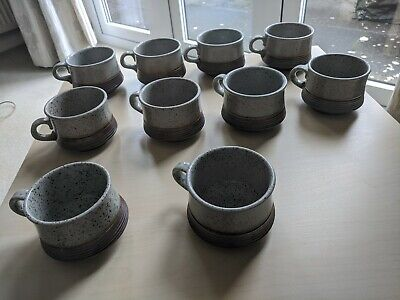 Purbeck Pottery Portland Vintage 10 Cup's And 9 Saucers Vintage Stoneware • 7.50£