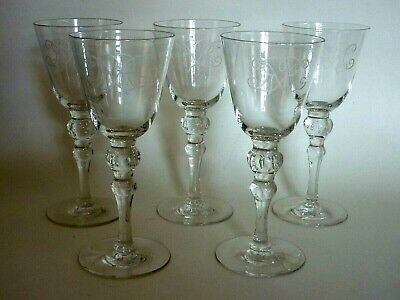 Set X5 George V.& Queen Mary Combined Cypher? Blown Crystal Wine Glasses.1930s.? • 21£