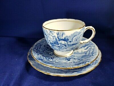 Vintage Hudson & Middleton Sutherland Bone China Rural Scene Blue White Tea Trio • 10£