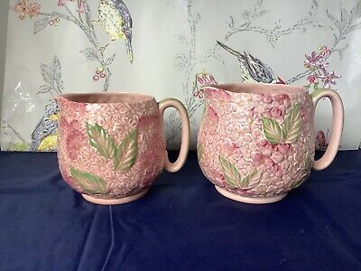 Absolutely Stunning 2 Antique  Jugs Crown Ducal Pink Hydrangea • 44.95£