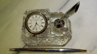 WATERFORD Crystal Westover Desk FREE POST Clock & Pen Holder Office Gift Classic • 25£
