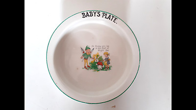Vintage Rimmed Baby's Plate (Chip On Base - See Photo) • 2£