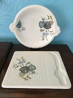 Vintage Slyvac Ware Lime Grove Cheese Board & Cake/sandwich Plate • 4.99£