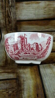 Small Staffordshire Red And White Transfer Sugar Bowl • 4.99£
