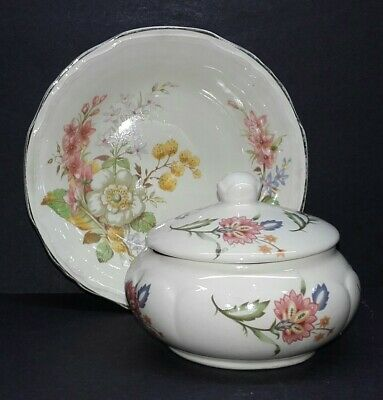 Vintage Cream Floral Tyne Potteries Trinket Bowl With Lid And Alfred Meakin Dish • 2.50£