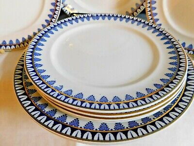 Set Of Art Deco Dinner Plates And Side Plates / 1920's Blue & Gilt Rim  Dainty  • 19.99£