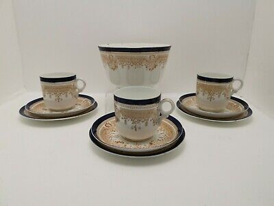 Sutherland China Cobalt Blue And Gold Teacup Trio's And Waste Bowl  • 14.99£