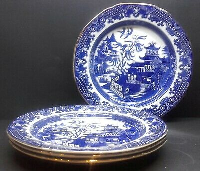 4 Vintage Burgess & Leigh Burleighware Willow Pattern Blue And White Plates • 7.99£