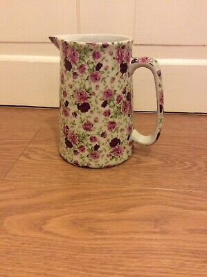 Victoria Ironstone Staffordshire Pretty Pink And Red Roses Jug  - 19cm • 7£