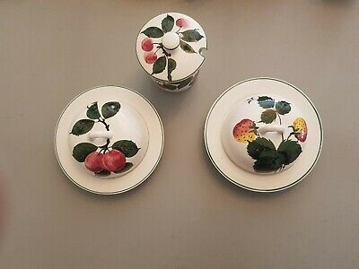 Pair Of Plichta Pottery Strawberry & Plum Painted Jam Preserve Dishes & Jar • 30£