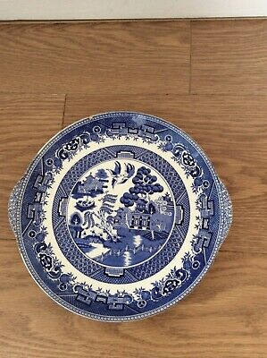Vintage Old Willow Blue And White British Anchor Cake Plate • 3£