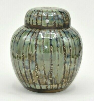 Cobridge Stoneware Green Stripe Large 8  Studio Ginger Jar Anita Harris 2002 • 125£