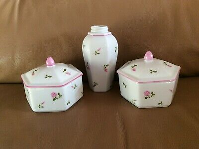 VINTAGE ST MICHAEL ( M&S) ROSEBUD TRINKET BOXES And SOAP DISPENSER BODY • 7£