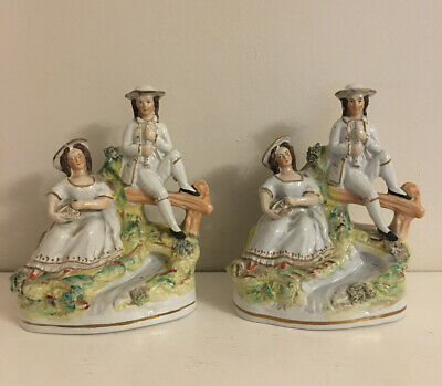 Beautiful Victorian Staffordshire Flatback Pair Of Figures Fireplace Ornaments • 35£