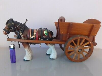 Vintage Melba Ware Shire Horse With Wooden Wagon  • 20£