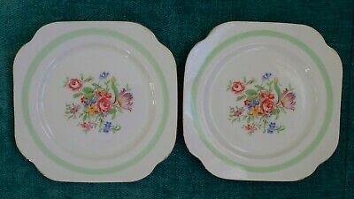 Colclough 6 Inch Side Plates Gold Edge X 2.unknown Pattern,made Longton,england. • 7.99£