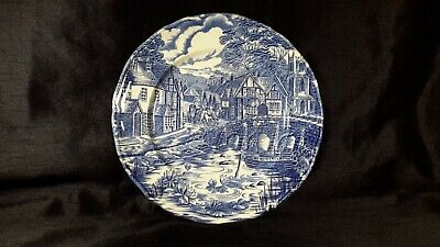Vintage Plate Dish The Post House - Alfred Meakin Staffordshire Round Blue White • 6.99£
