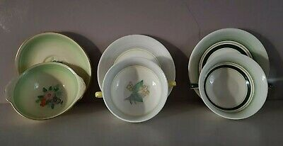 VINTAGE GRAYS POTTERY CUP & SAUCERS X 3 • 10£