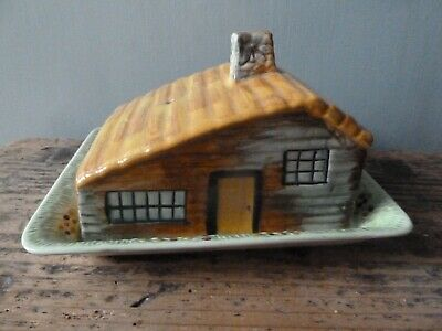 Vintage Shorter & Son Hand Painted Cottage Lidded Cheese Dish • 14£