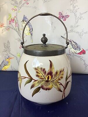 Very Rare Wiltshaw And Robinson Carlton Ware Orchid Biscuit Barrel  C1890 • 74.95£