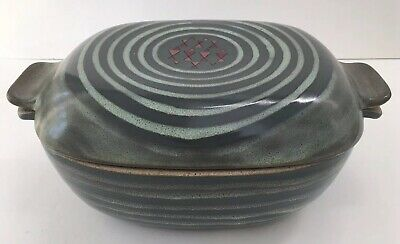 Glidden Pottery #161 HIGH TIDE Large Covered Casserole Chicken Roaster Fong Chow • 67.96£