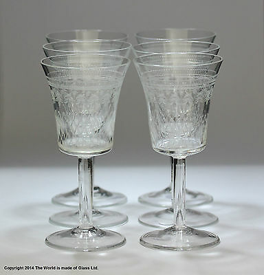 Set Of Six  Pall Mall /Lady Hamilton Pattern Sherry Glasses, Etched/etched • 30£