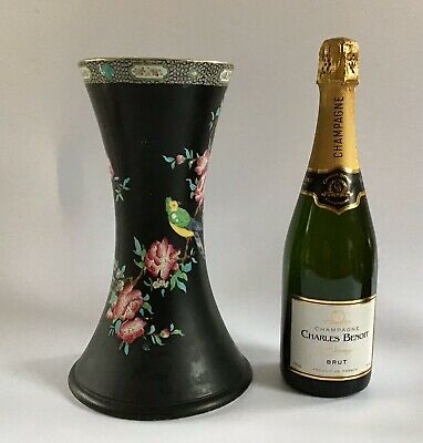 Art Deco Shelley Vase Large 30cm Black With Enamelled Bird And Blossom Pattern • 40£