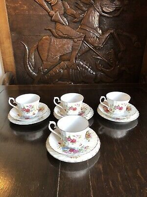 HM Royal Sutherland Fine Bone China Set 4 Cups, Saucers & Plates Made In England • 20£