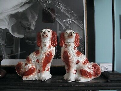 Pair Large Staffordshire Pottery Dogs Blenhiem King Charles Spaniels • 175£