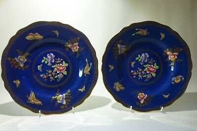 Two Spode Copelands Cabinet Plates Butterfly & Flowers Gilt Trim - July 1927 • 29.99£