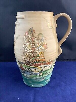Large Antique Jug Galleon Pattern Sailing Ships And Sea Birds • 19.95£