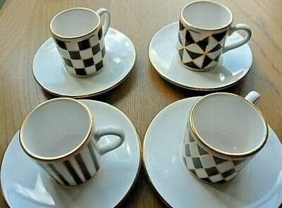 Hornsea Pottery   Silhouette  Set Of 4 Espresso Coffee Cups & Saucers. Perfect. • 12£